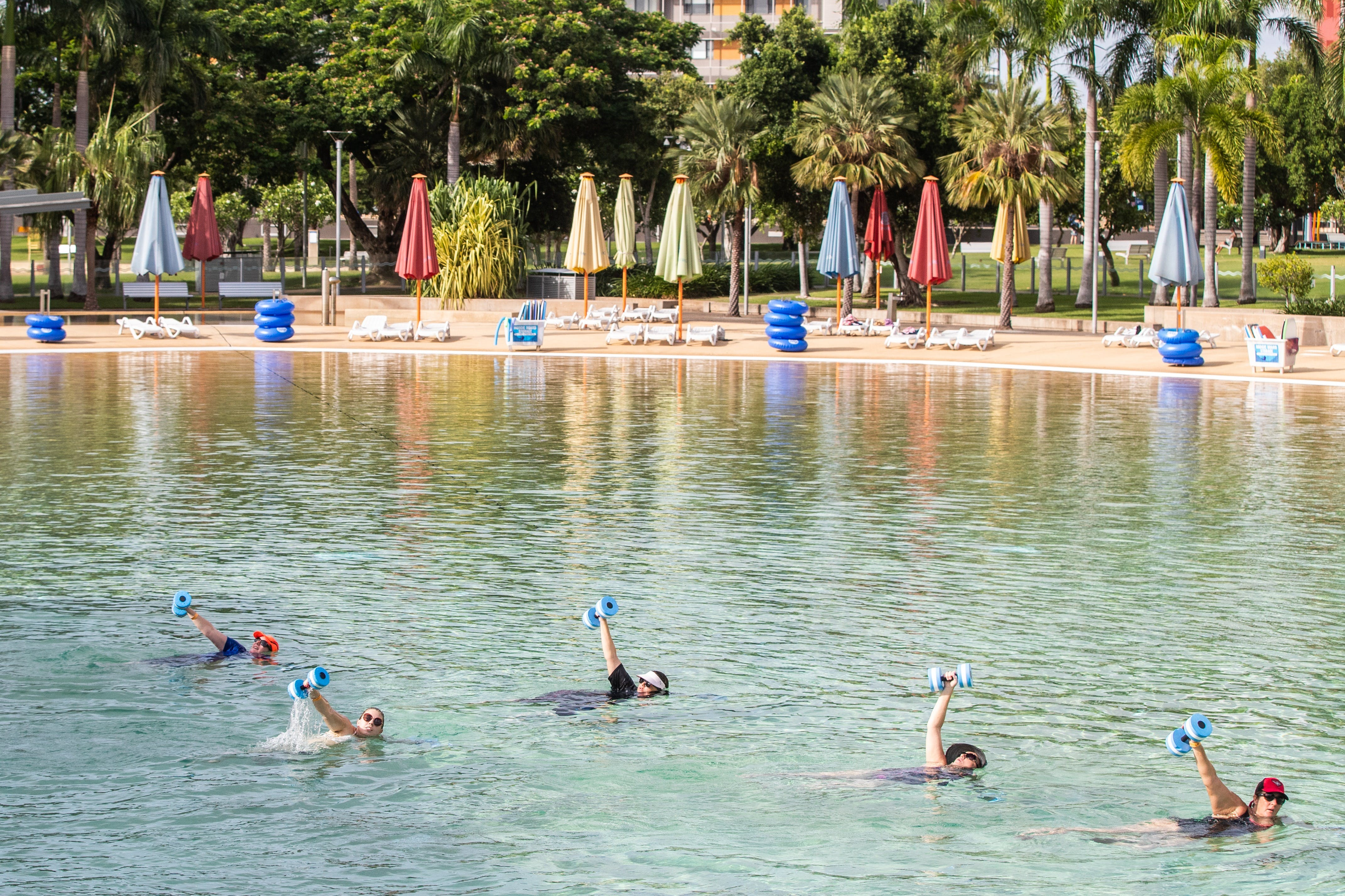Aqua fitness in the Wave Lagoon - Accommodation Gold Coast